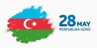 28 May Respublika gunu. Translation from azerbaijani: 28th May R. Epublic day of Azerbaijan. 100th anniversary Stock Illustration