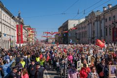 Russia, St. Petersbur, May 9 2019. National action Immortal regiment on Nevsky Prospekt Petersburg. City holiday dedicated to the royalty free stock image