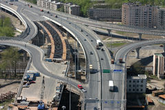 Construction of the bridge and road junction.  Royalty Free Stock Photography