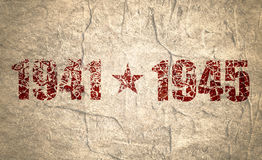 May 9 Russian holiday Victory Day background template. Happy Victory day. 1941 and 1945 cracked numbers. Concrete grunge texture Stock Photography