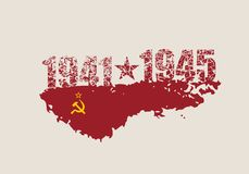 May 9 Russian holiday Victory Day background template. Russian translation of the inscription: May 9. Happy Victory day. 1941 and 1945 cracked numbers vector illustration