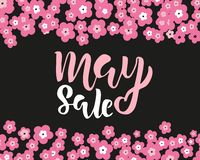 May sale flyer template with handwritten lettering with flowers. Poster, card, label, banner design. Bright and stylish sketched stock images