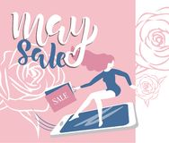 May sale flyer template with handwritten lettering with roses and hurry girl. Poster, card, label, banner design. Bright and vector illustration