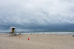 A thunderstorm rolls in on Mission Beach in San Diego California. San Diego California: A thunderstorm rolls in on Mission Beach in San Diego California stock photos
