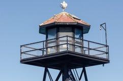 Exterior view of Alcatraz Island prison and lighthouse. SAN FRANCISCO, CALIFORNIA: Exterior view of Alcatraz Island prison and lighthouse stock images