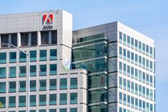 May 5, 2019 San Jose / CA / USA - Adobe Inc. headquarters in downtown San Jose, south San Francisco bay area, Silicon Valley stock image