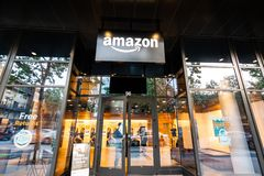 May 12, 2019 San Jose / CA / USA - Amazon Hub Locker in the downtown area, Silicon Valley royalty free stock photo