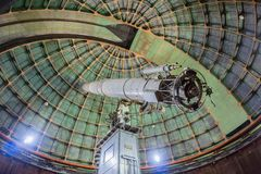 May 7, 2017 San Jose/CA/USA - Inside the historical 36-inch Shane telescope at Lick Observatory - Mount Hamilton, south San. Francisco bay royalty free stock photo