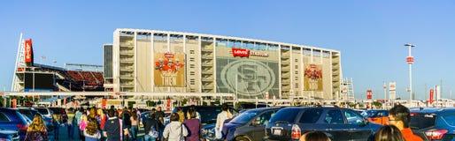 People heading towards the entrance to Levi`s Stadium stock photos