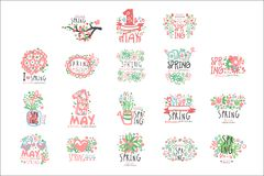 1 May set original design. Spring holidays, First May, International labor day colorful hand drawn vector Illustrations. For stickers, banners, cards Royalty Free Illustration