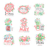 1 May set original design. Spring holidays, First May, International labor day colorful hand drawn vector Illustrations. For stickers, banners, cards Stock Photos
