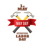May 1st. Labor Day background template. May Day. May 1st. Labor Day background with two hummers and red ribbon. Poster, greeting card or brochure template Stock Image