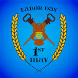 May 1st. Labor Day. Crossed Jackhammers and Lantern Royalty Free Stock Images