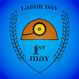 May 1st. Labor Day. Mine helmet and wheat ears Stock Image