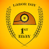 May 1st. Labor Day. Mine helmet and wheat ears Royalty Free Stock Photo