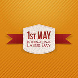 May 1st Labor Day paper Banner. With red Ribbon. Vector Illustration Royalty Free Stock Photography