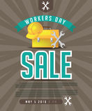 May 1st Labor Day Workers Day Sale background. EPS 10 Vector Royalty Free Illustration