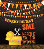 May 1st Labor Day Workers Day Sale background. Royalty Free Stock Photos