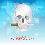 May 31st World no tobacco day. Create a skull image and the mouth pass cigarettes on a blue background Stock Photo