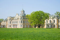 The may sunny day in the old Imperial estate Znamenka. Peterhof stock photography