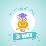 3 may teachers day. Calendar for each day on may 3. Greeting card. Holiday - teachers day. Icon in the linear style Royalty Free Stock Photos