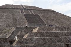 Pyramid of the Sun Teotihuacan Mexico. May 15, 2014 Teotihuacan, Mexico: the extensive volume of the Pyramid of the Sun is impressive and offers a great view of Royalty Free Stock Photography