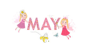 May text with cute fairy tale. May and spring time Royalty Free Stock Photography