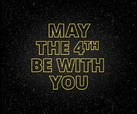 May the 4th be with you holiday background. Yellow letters on starry sky background Royalty Free Stock Photos