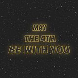 May the 4th be with you. Sci-fi yellow neon glowing letters on space background.  Stock Images