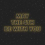 May the 4th be with you. Sci-fi yellow neon glowing letters on space background.  Royalty Free Stock Photography
