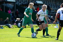 Katie McCarthy at the Women`s National League game: Cork City FC vs Galway WFC. May 12th, 2019, Cork, Ireland - Katie McCarthy at the Women`s National League stock images
