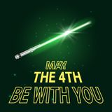 May the 4th holiday. Vector greeting card template for May the 4th be with you holiday. Dark space background Stock Photography