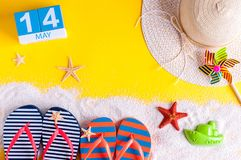 May 14th. Image of may 14 calendar with summer beach accessories. Spring like Summer vacation concept.  Royalty Free Stock Photos