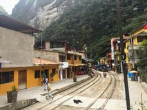 May 10th, 2016: A view of the tourist town Aguas Calientes, nest royalty free stock photos