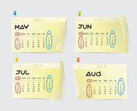May to August Calendar 2014 Royalty Free Stock Images