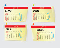 May to August Calendar 2014 Royalty Free Stock Photography