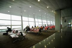 May 15, 2014 Ukraine interior of the international airport Borispol: A new terminal for the departure of aircraft. Topic of air tr Royalty Free Stock Photography