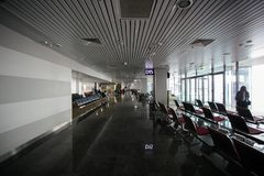 May 15, 2014 Ukraine interior of the international airport Borispol: A new terminal for the departure of aircraft. Topic of air tr. Avel and tourism Stock Images