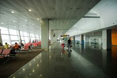 May 15, 2014 Ukraine interior of the international airport Borispol: A new terminal for the departure of aircraft. Topic of air tr. Avel and tourism Stock Image