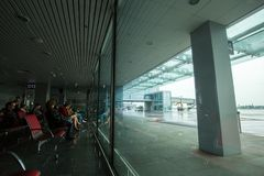 May 15, 2014 Ukraine interior of the international airport Borispol: A new terminal for the departure of aircraft. Topic of air tr. Avel and tourism Stock Photography