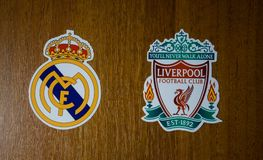 Champions League final 2018. May 20, 2018 Ukraine, Kiev. Emblems of the finalists of the UEFA Champions League season 2017/2018 Spanish Real Madrid and English Royalty Free Stock Photography