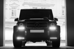 May 24, 2013, Ukraine, Kiev. Mercedes-Benz G 55 AMG in the shadows with glowing lights in low light. Mercedes-Benz G 55 AMG in the shadows with glowing lights in royalty free stock photos