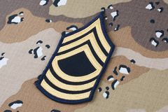 May 12, 2018. US ARMY Master Sergeant rank patch on Desert Battle Dress Uniform background. May 12, 2018. US ARMY Master Sergeant rank patch on Desert Battle stock images