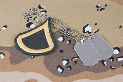 May 12, 2018. US ARMY Private First Class rank patch and dog tags on Desert Battle Dress Uniform background. May 12, 2018. US ARMY Private First Class rank patch stock photos