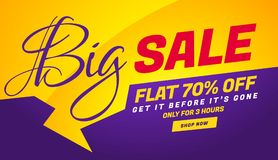05-MAY-V07-SALE. Big sale banner template with yellow chat bubble royalty free illustration