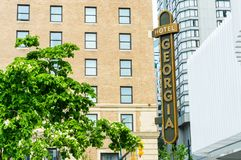 May 12, 2019 - Vancouver, Canada: Rosewood Hotel Georgia luxury accomodations, exterior at Georgia and Howe Streets. stock photo