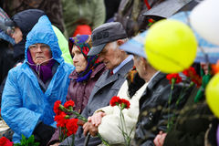 May 9. Victory day parade honoring veterans, joy and sorrow, sadness and tragedy Royalty Free Stock Images