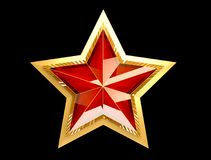 9 May. Victory Day. Red star 3d. Isolated background. Victory Day is a holiday of the victory of the Red Army and the Soviet people over Nazi Germany in the Stock Photography