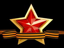 9 May. Victory Day. Red star 3d. Isolated background. Victory Day is a holiday of the victory of the Red Army and the Soviet people over Nazi Germany in the Royalty Free Stock Photos