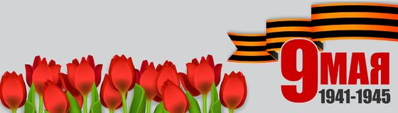 9 may Victory day holiday banner star. May 9 Victory Day Win. Winner Great war 1941-1945. Vector realistic tulips illustration. Saint George striped ribbon Stock Photos